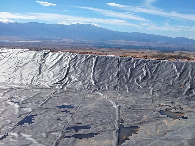 Impermeabilización de balsa en Cambil provincia de Jaén realizado por la empresa Cantitec de Granada