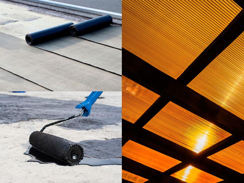 Los mejores materiales para las filtraciones de agua de un tejado o cubierta, lamina asfáltica, lamina sintética, membranas líquidas y policarbonato