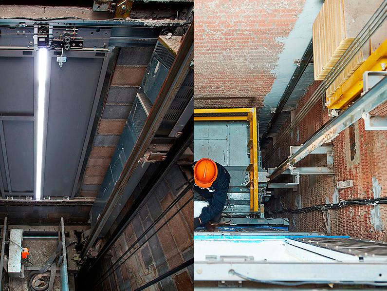 Impermeabilización de fosos de ascensor para combatir la humedad exterior e interior con morteros especiales y lámina de PVC Cantitec