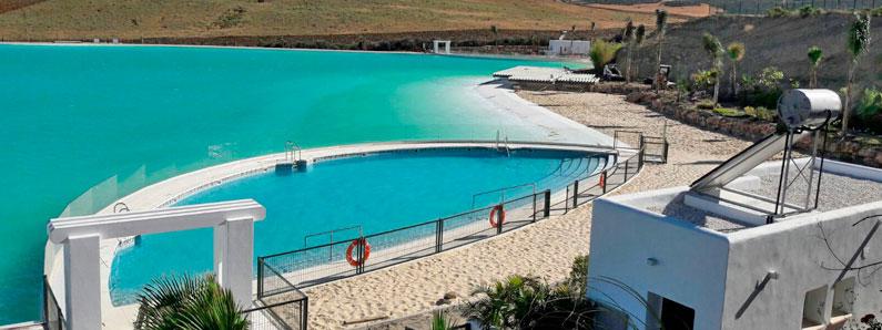Primera laguna artificial realizada por la empersa Cantitec, de agua cristalina de Crystal Lagoons en Europa