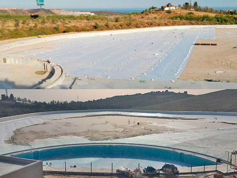 Cantitec realiza los trabajos de impermeabilización de la laguna artificial en la localidad de Casares, provincia de Málaga