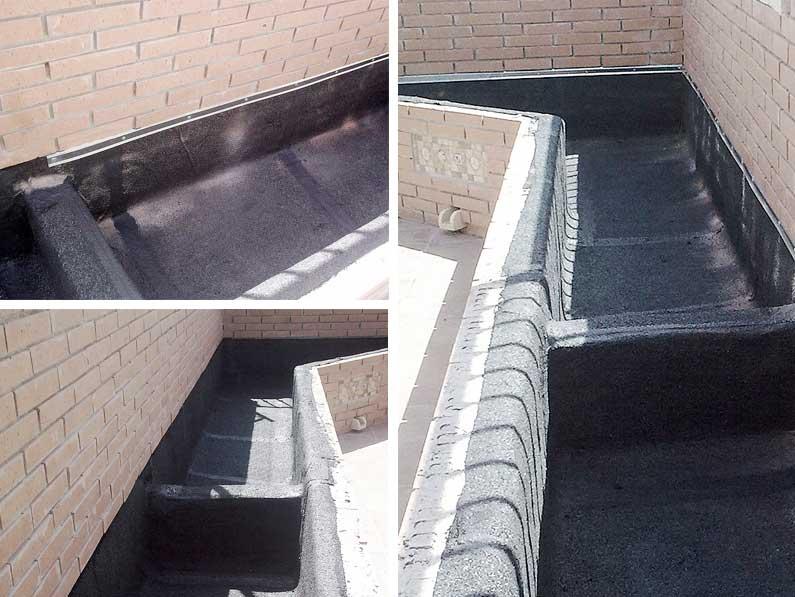 Cantitec impermeabilización de jardineras con láminas asfalticas para evitar filtraciones y humedades