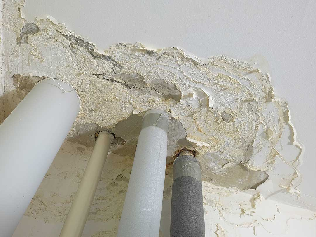 Problema de humedad por fuga en el techo