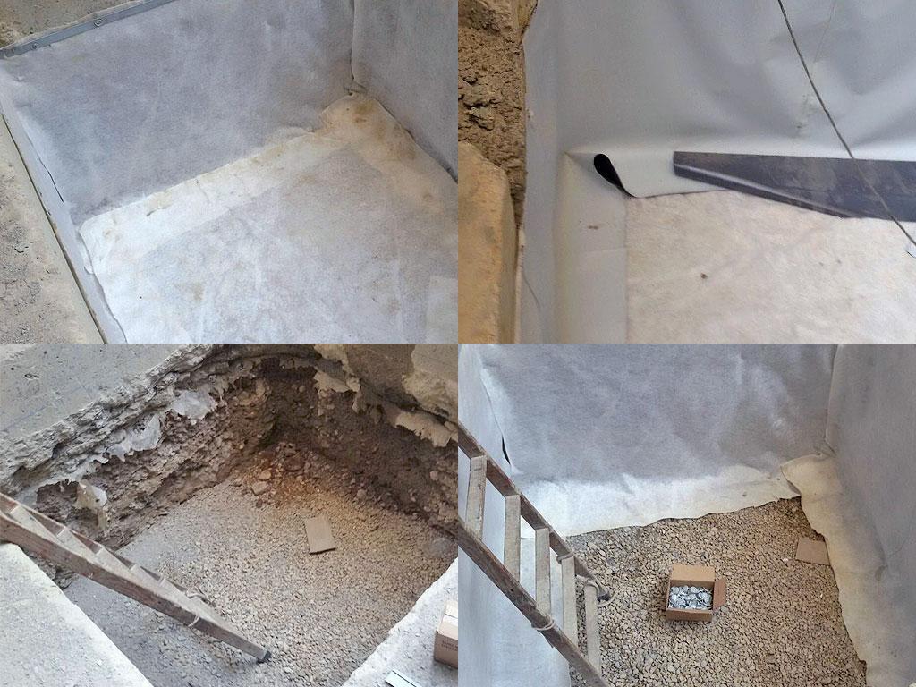 Fosos de ascensor con impermeabilización de lámina de PVC, realizado por la empresa Cantitec de Granada